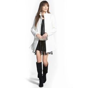 Nikki rich faux leather fringe dress